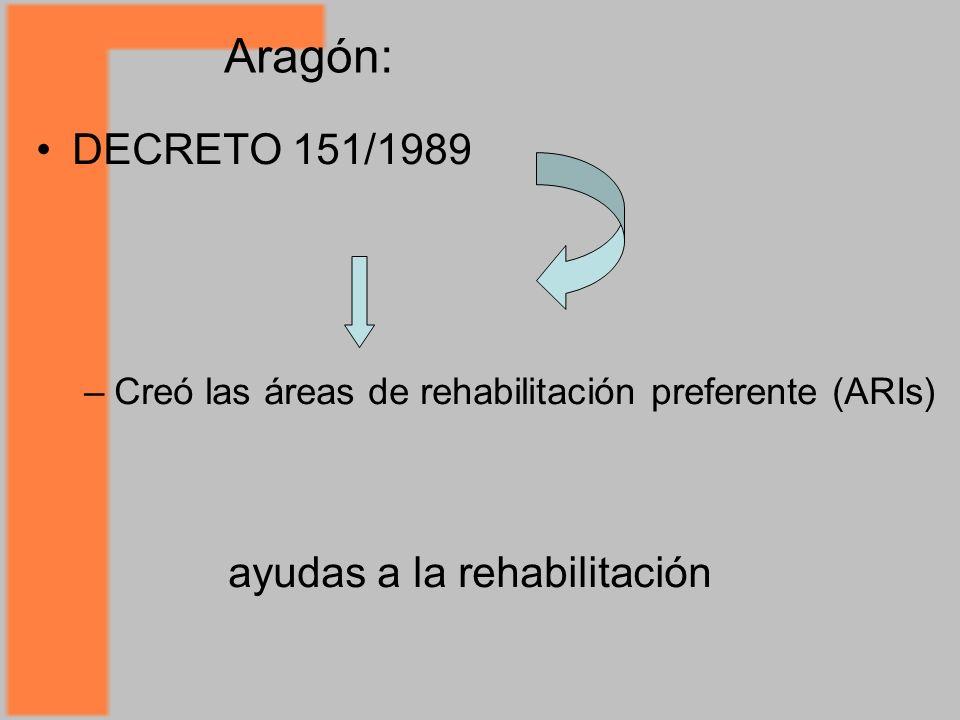 Aragón: DECRETO 151/1989 ayudas a la rehabilitación