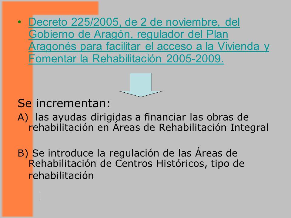 Decreto 225/2005, de 2 de noviembre, del Gobierno de Aragón, regulador del Plan Aragonés para facilitar el acceso a la Vivienda y Fomentar la Rehabilitación 2005-2009.