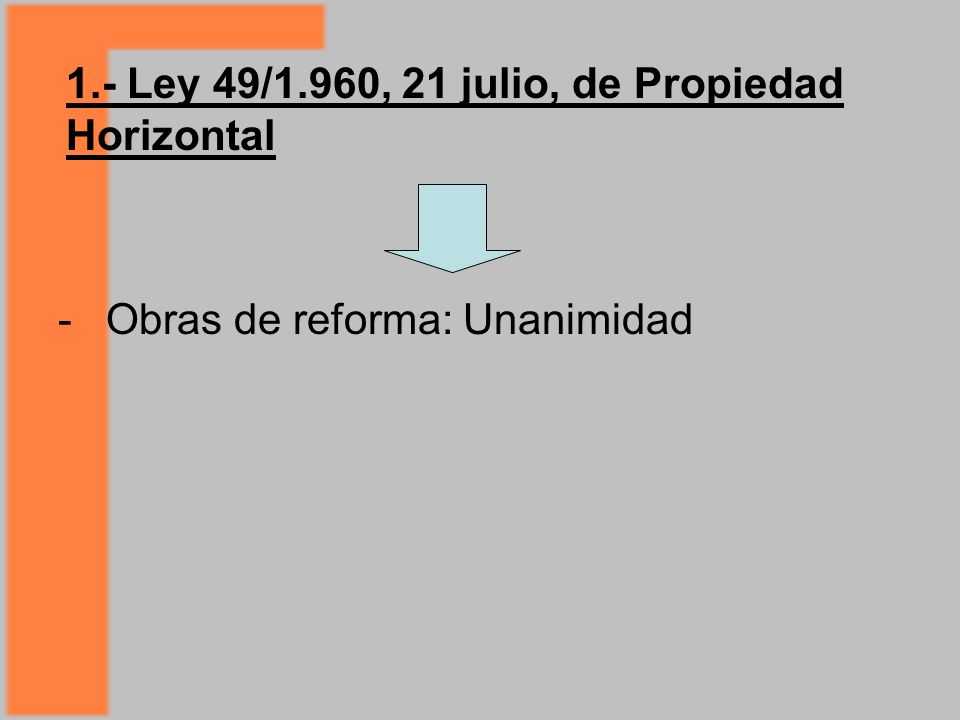 1.- Ley 49/1.960, 21 julio, de Propiedad Horizontal