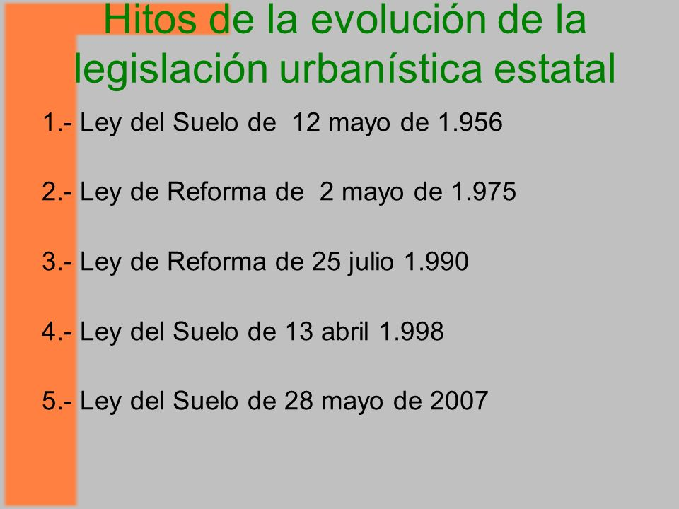 Hitos de la evolución de la legislación urbanística estatal