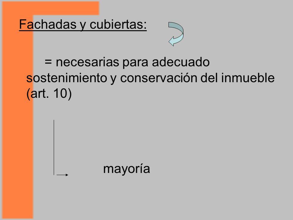 Fachadas y cubiertas: = necesarias para adecuado sostenimiento y conservación del inmueble (art. 10)
