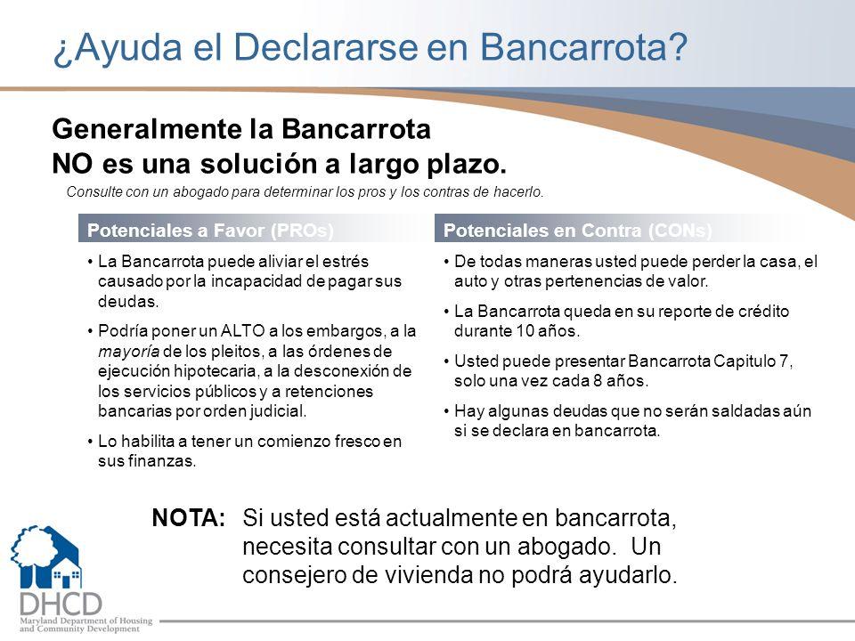 ¿Ayuda el Declararse en Bancarrota