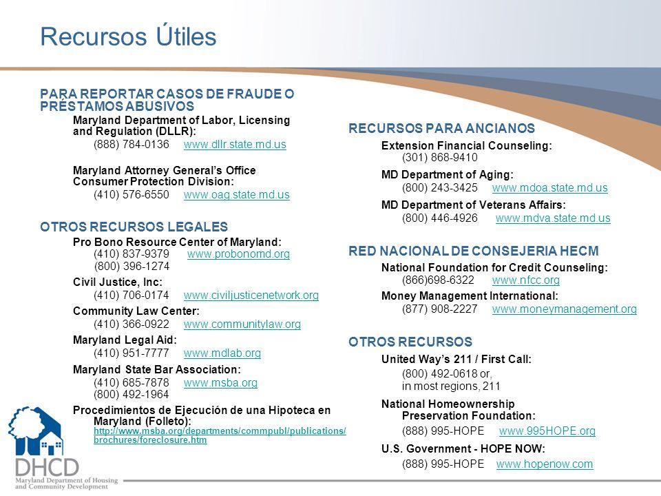 Recursos Útiles PARA REPORTAR CASOS DE FRAUDE O PRÉSTAMOS ABUSIVOS