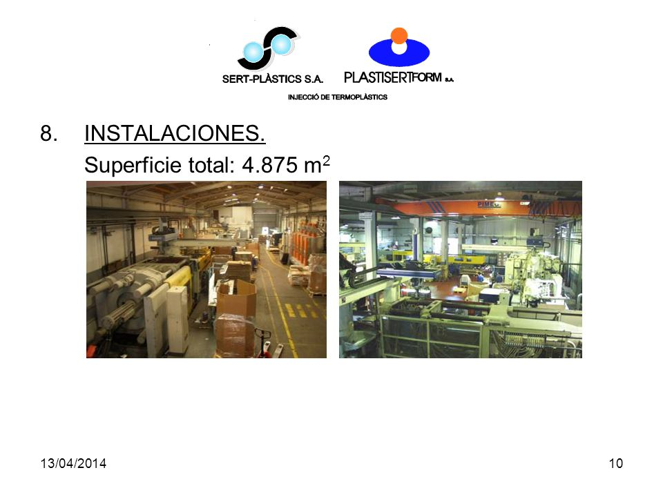 INSTALACIONES. Superficie total: 4.875 m2 29/03/2017 10
