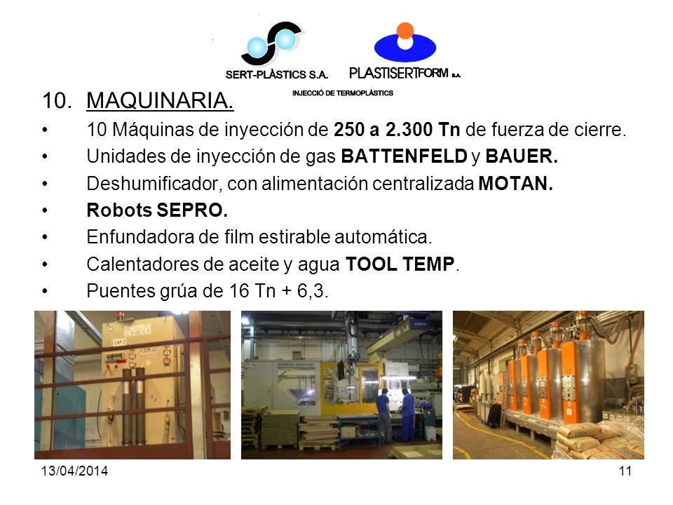 MAQUINARIA. 10 Máquinas de inyección de 250 a 2.300 Tn de fuerza de cierre. Unidades de inyección de gas BATTENFELD y BAUER.