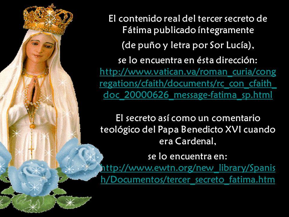 El contenido real del tercer secreto de Fátima publicado íntegramente