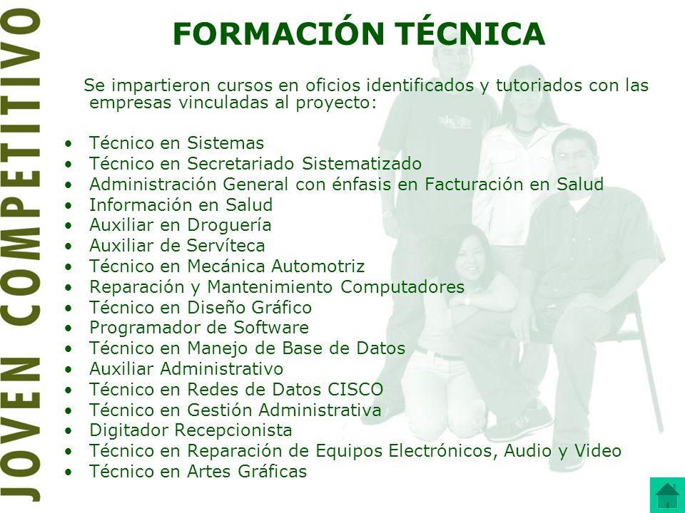 FORMACIÓN TÉCNICA Se impartieron cursos en oficios identificados y tutoriados con las empresas vinculadas al proyecto: