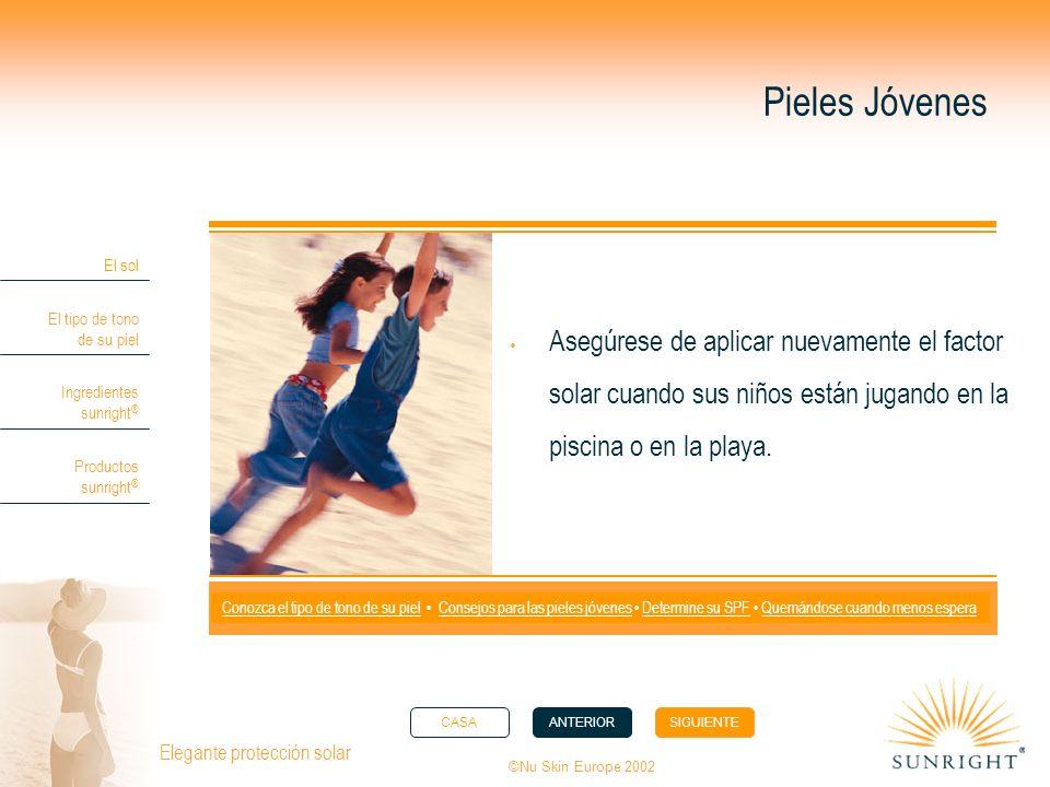 Pieles Jóvenes Asegúrese de aplicar nuevamente el factor solar cuando sus niños están jugando en la piscina o en la playa.