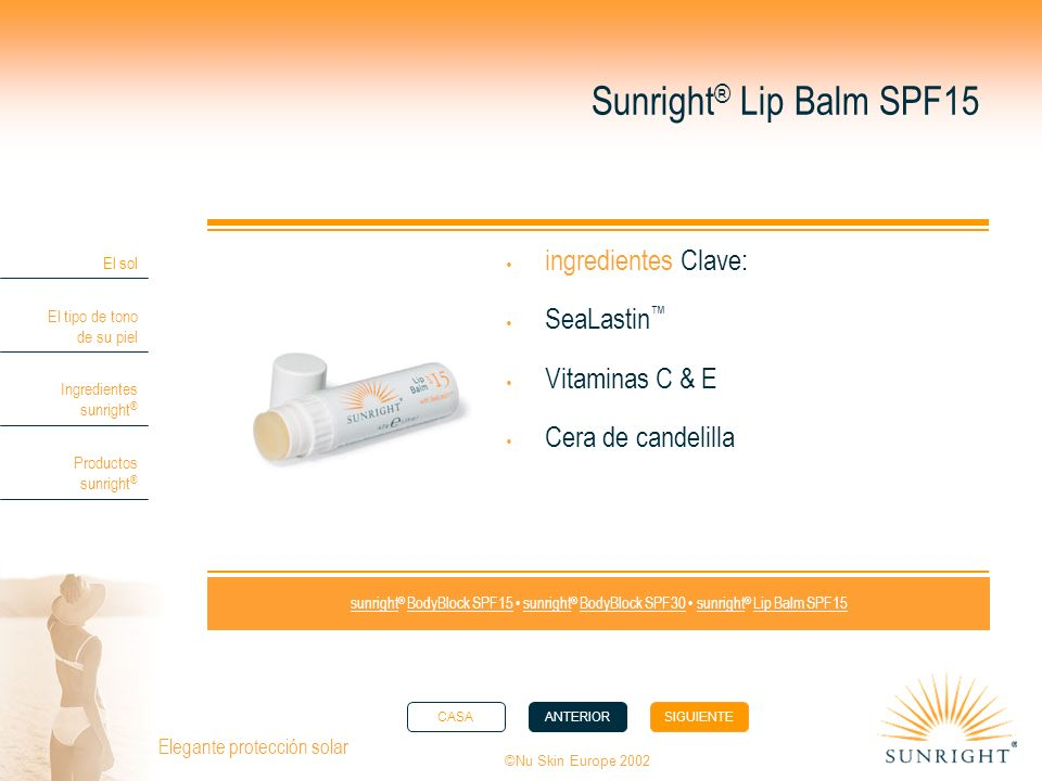 Sunright® Lip Balm SPF15 ingredientes Clave: SeaLastin™