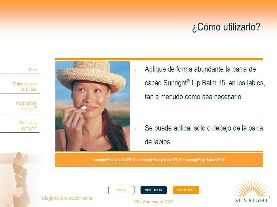 ¿Cómo utilizarlo Aplique de forma abundante la barra de cacao Sunright® Lip Balm 15 en los labios, tan a menudo como sea necesario.