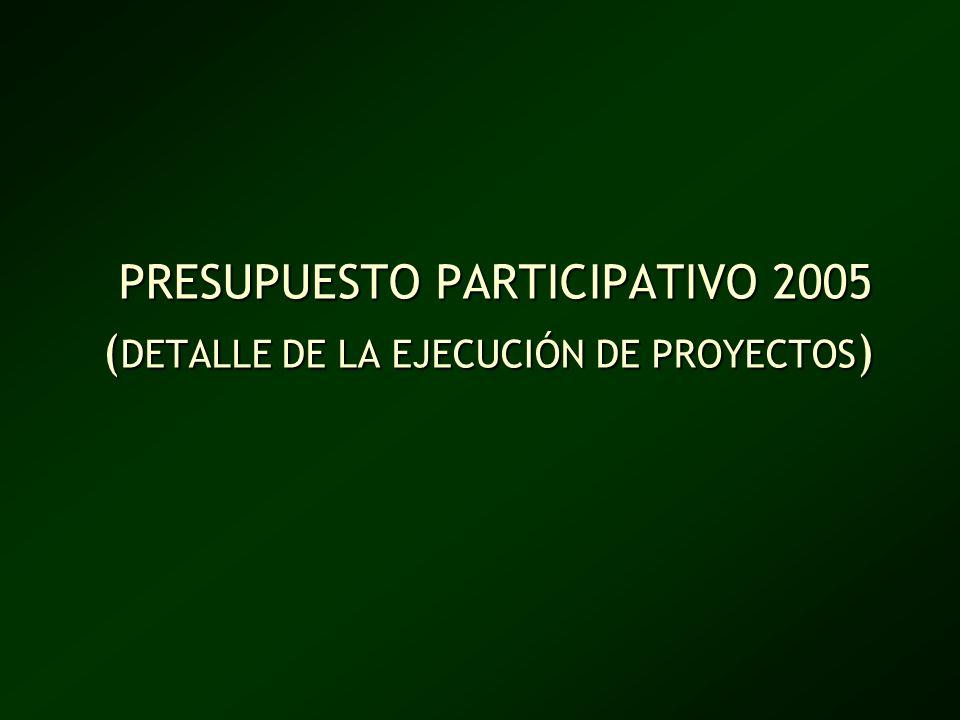 PRESUPUESTO PARTICIPATIVO 2005 (DETALLE DE LA EJECUCIÓN DE PROYECTOS)
