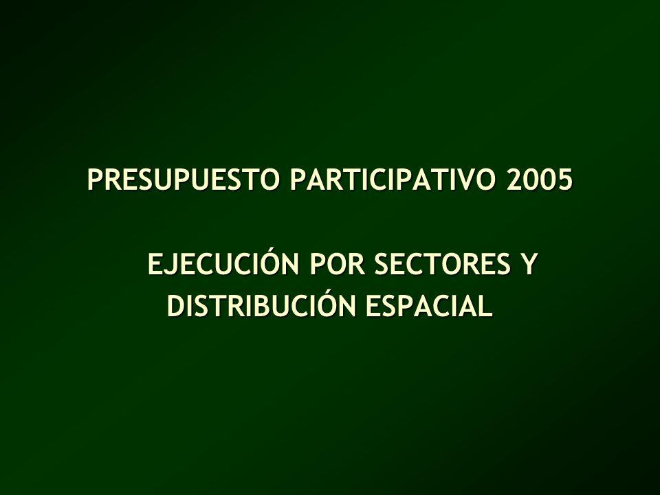 PRESUPUESTO PARTICIPATIVO 2005 EJECUCIÓN POR SECTORES Y