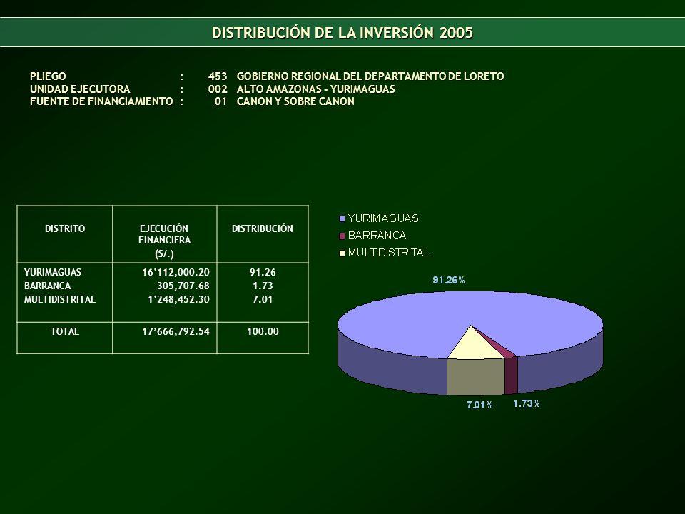 DISTRIBUCIÓN DE LA INVERSIÓN 2005