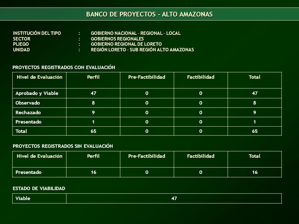 BANCO DE PROYECTOS – ALTO AMAZONAS