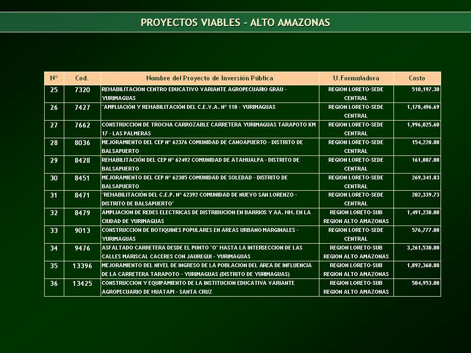 PROYECTOS VIABLES – ALTO AMAZONAS