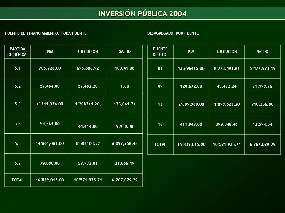 INVERSIÓN PÚBLICA 2004 FUENTE DE FINANCIAMIENTO: TODA FUENTE
