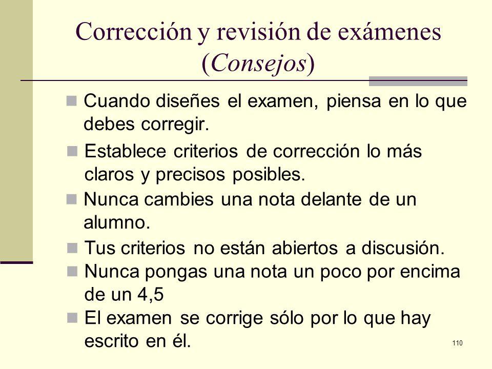 Corrección y revisión de exámenes (Consejos)