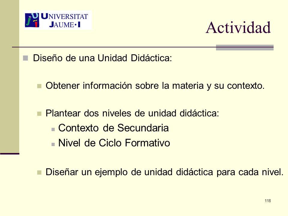 Actividad Contexto de Secundaria Nivel de Ciclo Formativo