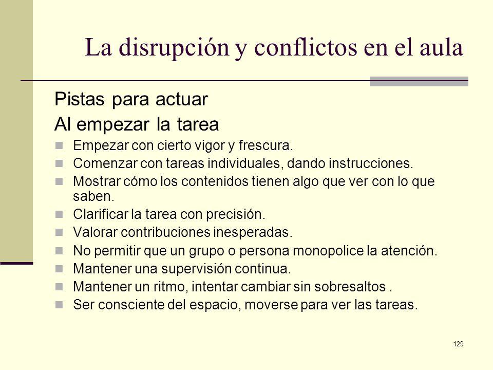 La disrupción y conflictos en el aula