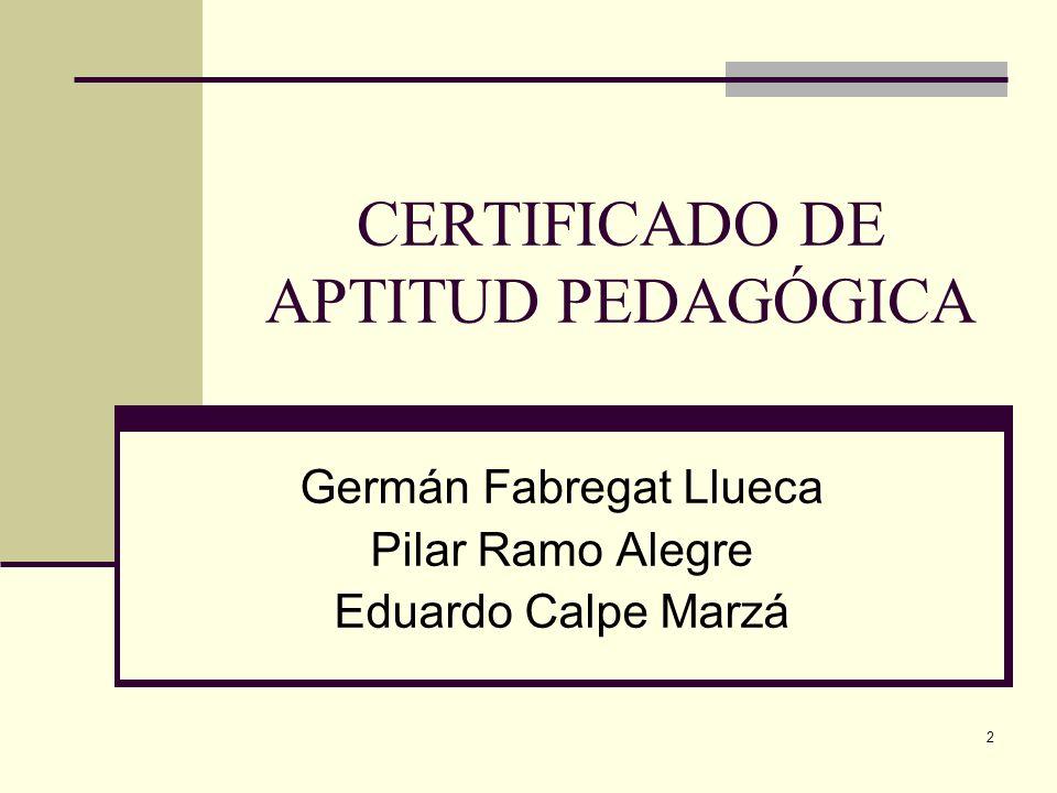 CERTIFICADO DE APTITUD PEDAGÓGICA
