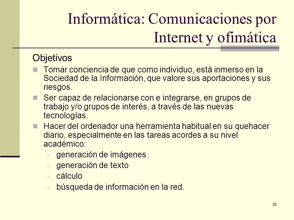Informática: Comunicaciones por Internet y ofimática