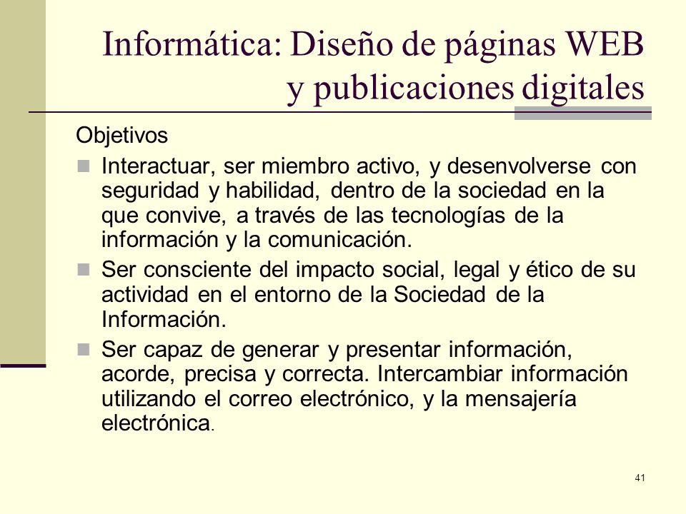 Informática: Diseño de páginas WEB y publicaciones digitales