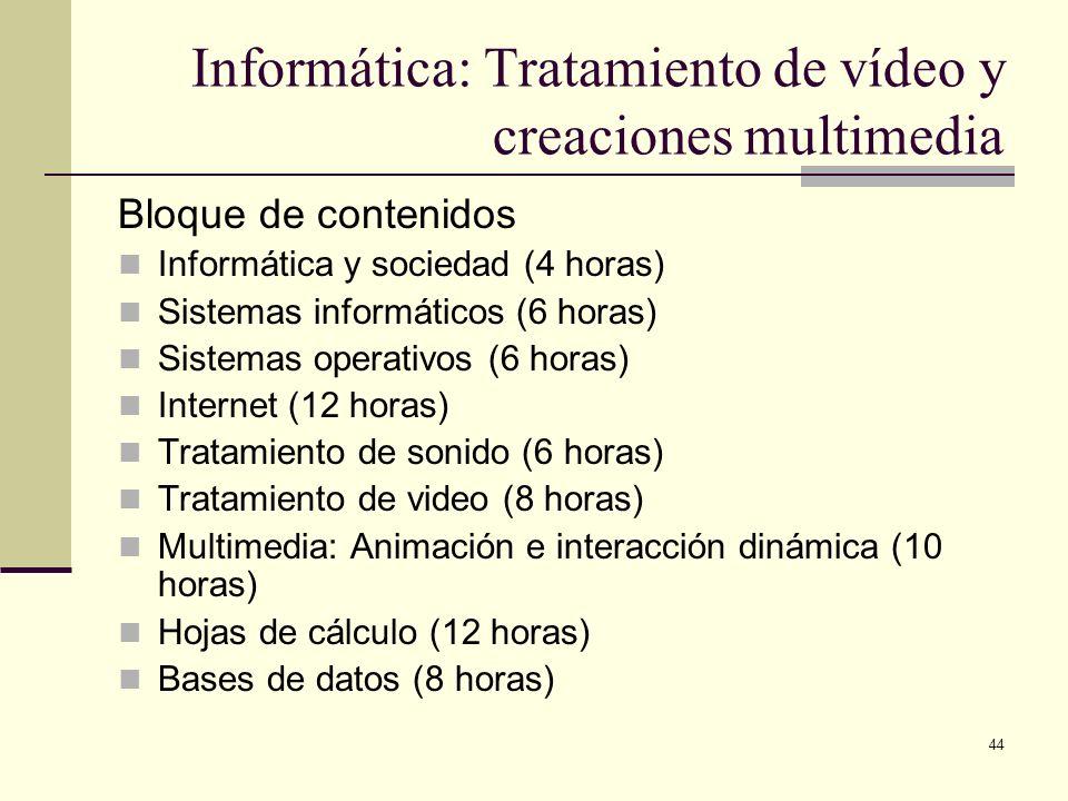 Informática: Tratamiento de vídeo y creaciones multimedia