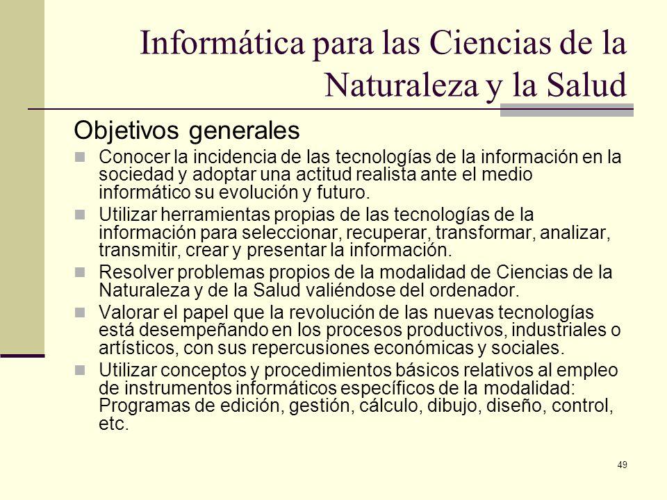 Informática para las Ciencias de la Naturaleza y la Salud