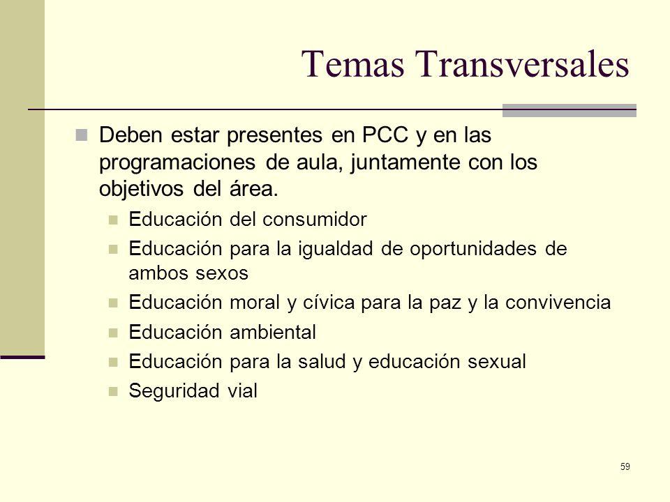 Temas Transversales Deben estar presentes en PCC y en las programaciones de aula, juntamente con los objetivos del área.
