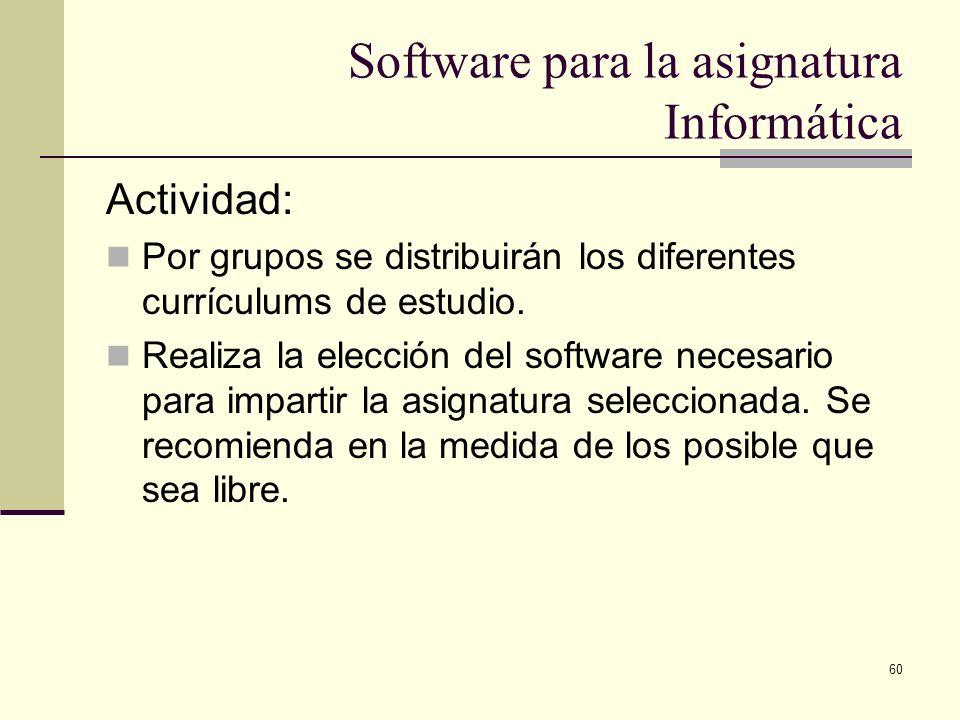 Software para la asignatura Informática
