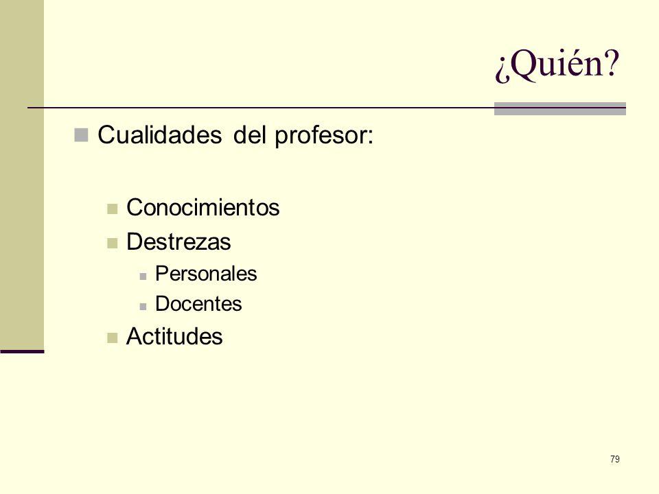 ¿Quién Cualidades del profesor: Conocimientos Destrezas Actitudes