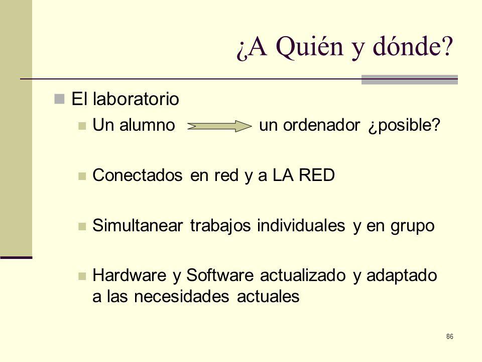 ¿A Quién y dónde El laboratorio Un alumno un ordenador ¿posible