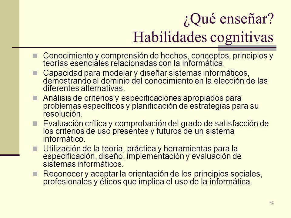 ¿Qué enseñar Habilidades cognitivas