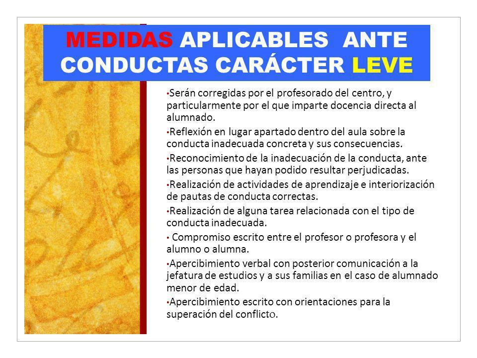 MEDIDAS APLICABLES ANTE CONDUCTAS CARÁCTER LEVE