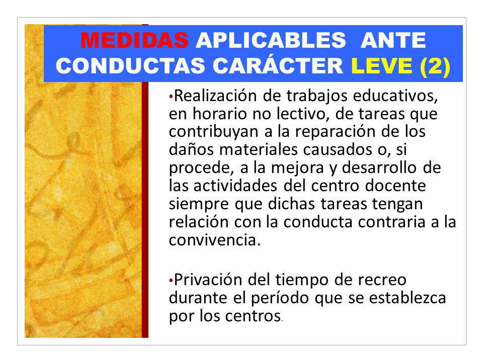 MEDIDAS APLICABLES ANTE CONDUCTAS CARÁCTER LEVE (2)