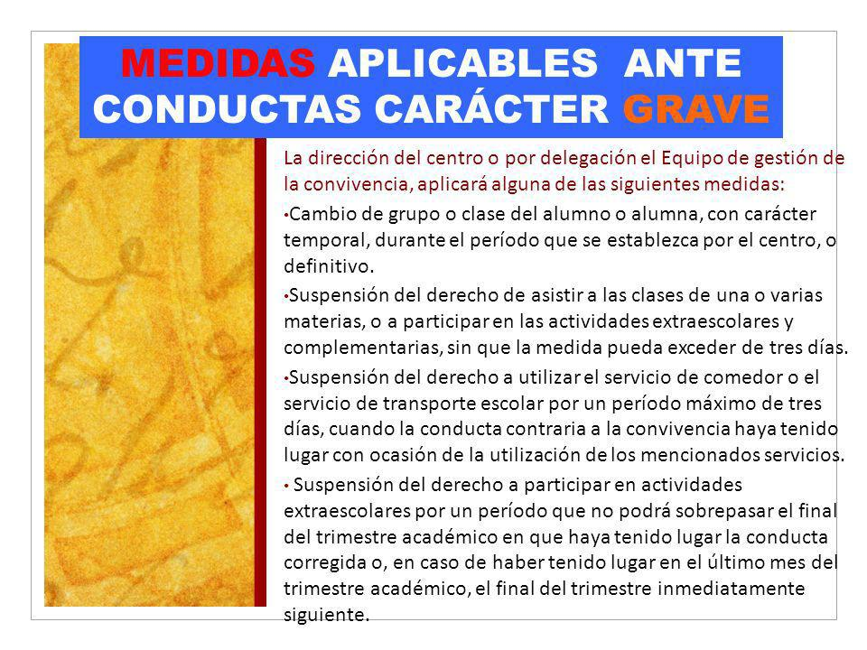 MEDIDAS APLICABLES ANTE CONDUCTAS CARÁCTER GRAVE