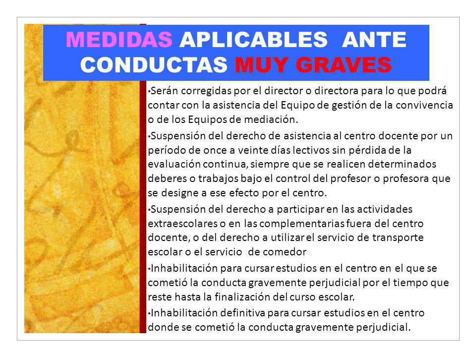 MEDIDAS APLICABLES ANTE CONDUCTAS MUY GRAVES