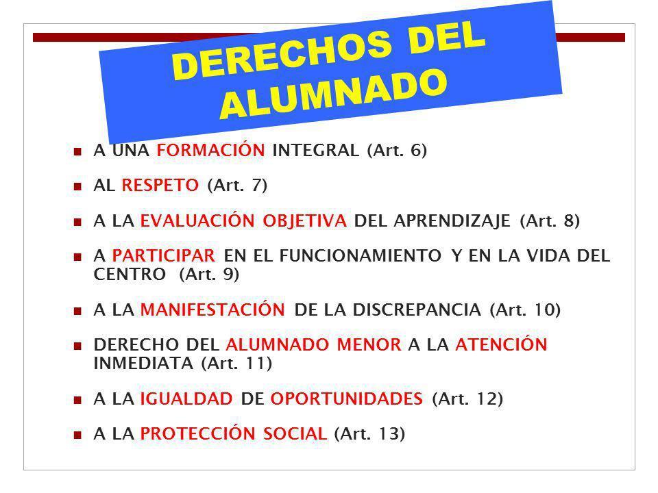 DERECHOS DEL ALUMNADO A UNA FORMACIÓN INTEGRAL (Art. 6)