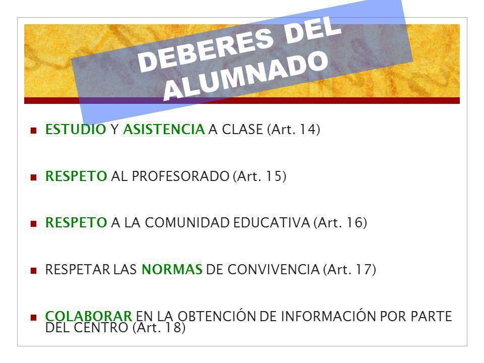 DEBERES DEL ALUMNADO ESTUDIO Y ASISTENCIA A CLASE (Art. 14)