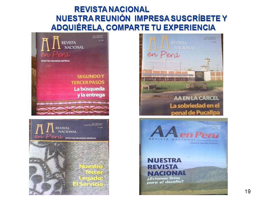 REVISTA NACIONAL NUESTRA REUNIÓN IMPRESA SUSCRÍBETE Y ADQUIÉRELA, COMPARTE TU EXPERIENCIA.