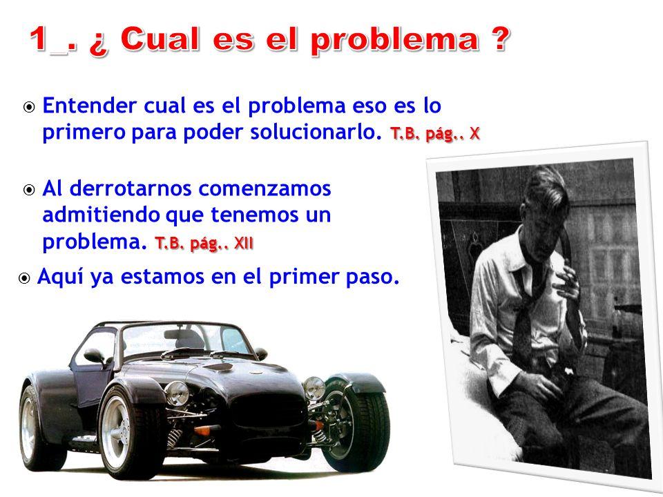1_. ¿ Cual es el problema Entender cual es el problema eso es lo primero para poder solucionarlo. T.B. pág.. X.