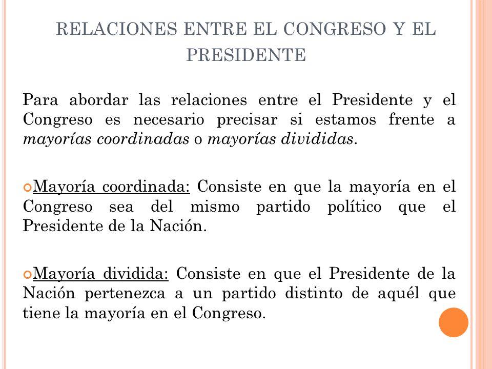 relaciones entre el congreso y el presidente