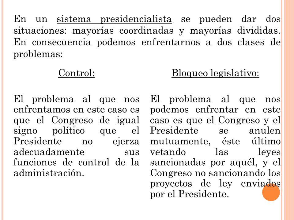 En un sistema presidencialista se pueden dar dos situaciones: mayorías coordinadas y mayorías divididas. En consecuencia podemos enfrentarnos a dos clases de problemas: