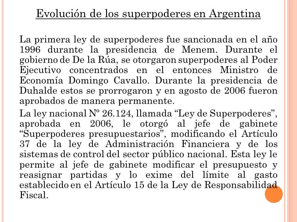 Evolución de los superpoderes en Argentina