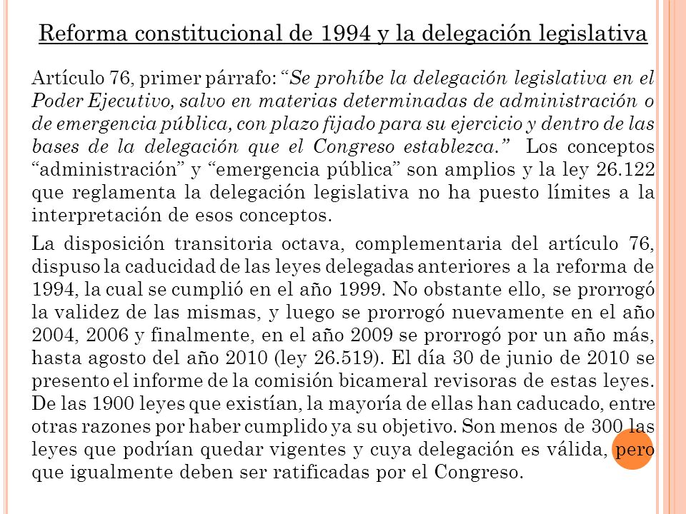 Reforma constitucional de 1994 y la delegación legislativa