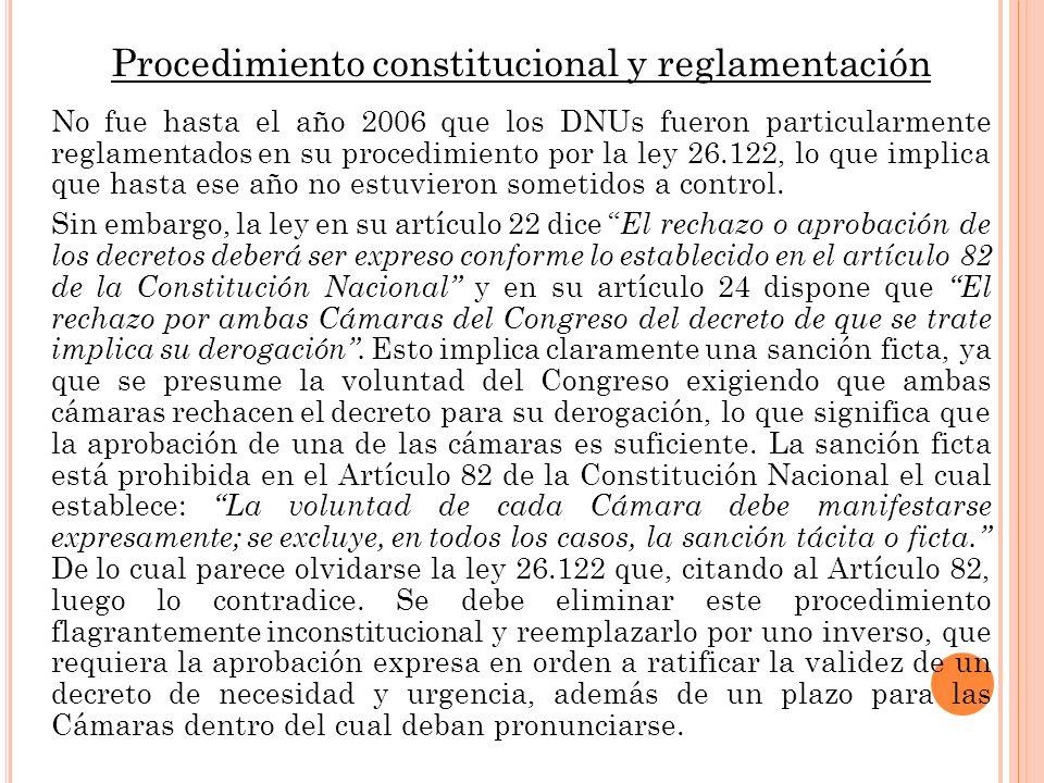 Procedimiento constitucional y reglamentación