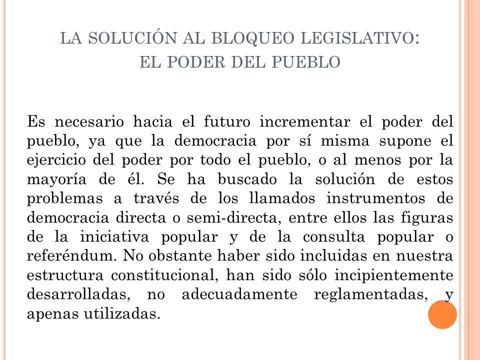 la solución al bloqueo legislativo: el poder del pueblo