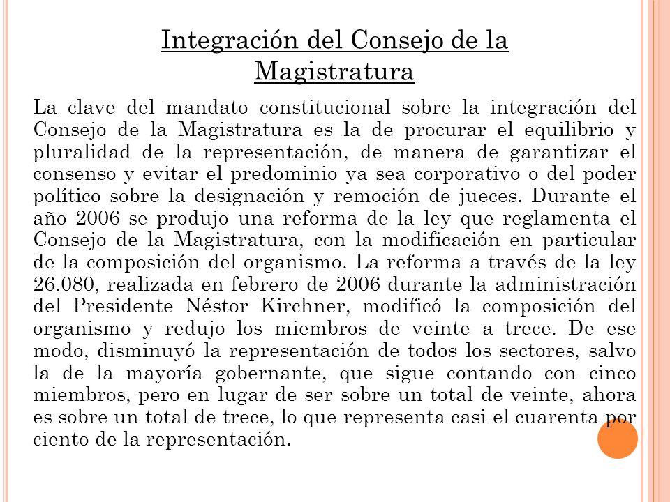 Integración del Consejo de la Magistratura