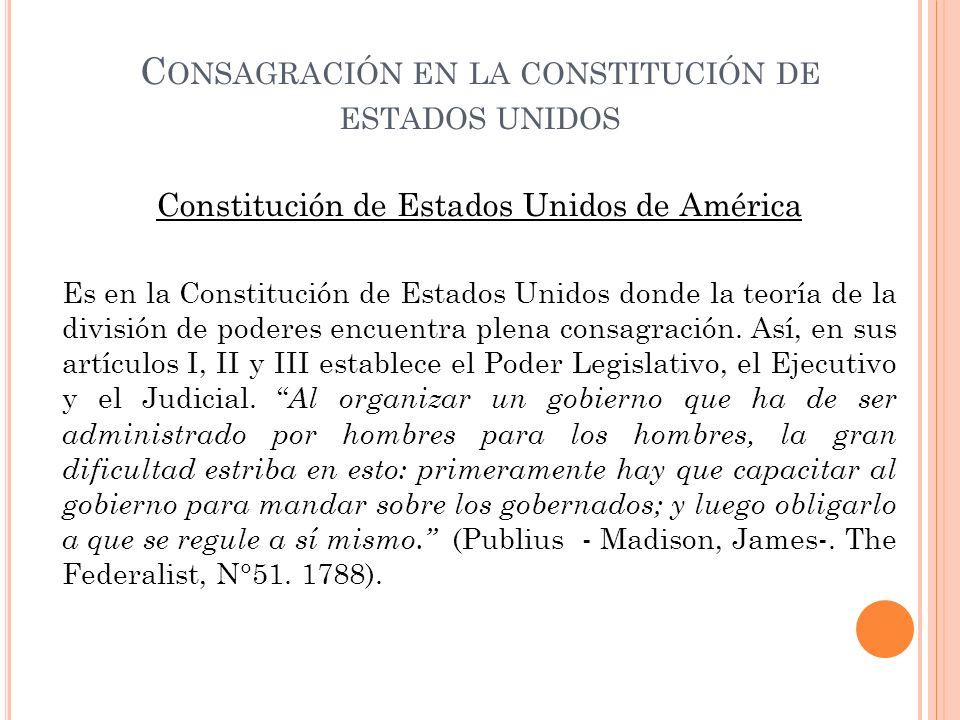 Consagración en la constitución de estados unidos