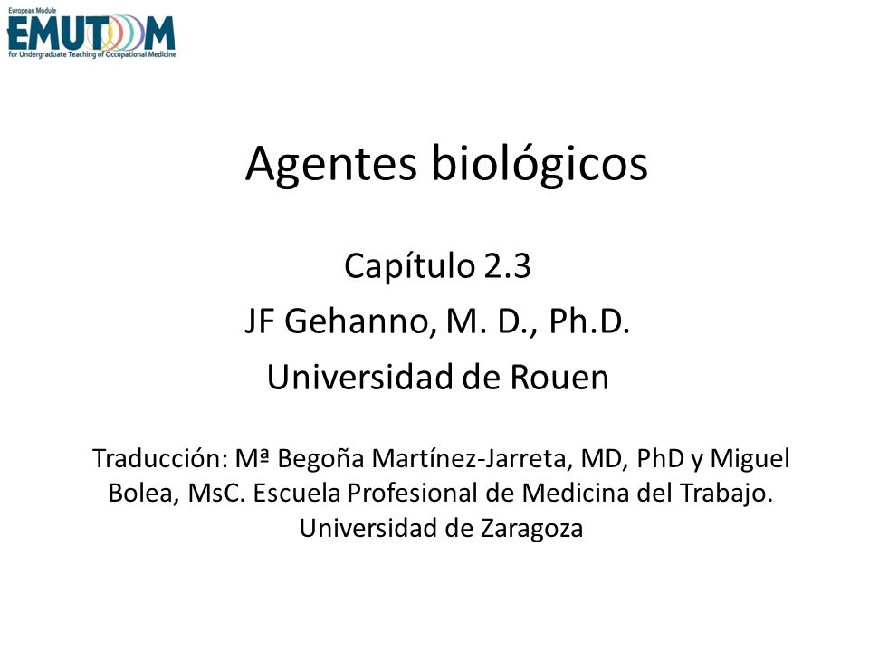 Capítulo 2.3 JF Gehanno, M. D., Ph.D. Universidad de Rouen